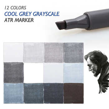 STA 12 Cool Grey Colors Art Markers Grayscale Artist Dual Head Markers Set for Brush Pen Painting Marker School Student Supplies - DISCOUNT ITEM  33% OFF All Category