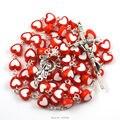 Католические четки ожерелье красочный форме сердца акриловые бусины посеребренная стежков