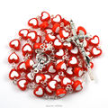 Catholic rosary necklace colorful heart shape acrylic beads silver plated stitches