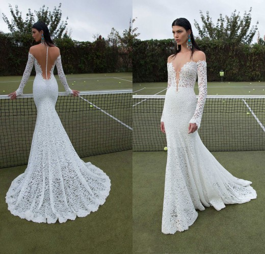 2019 New Fashion Berta Bridal Gown vestido de noiva See Through Long Sleeve Lace Wedding Dress With Train wedding dresses