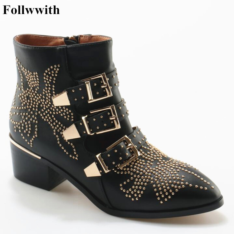 Hot Fashion Black Susanna Studded Leather Ankle Boots Buckles Low Heeled High Top Women Boots Zapatos Mujer Ladies Shoes Size 42 цена и фото