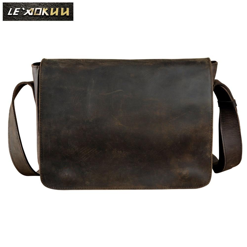 New Fashion Real Leather Male Casual Messenger bag Satchel cowhide 13 Laptop Bag Cross-body Shoulder bag For Men 3164 vintage men canvas satchel casual cross body messenger shoulder bag coffee