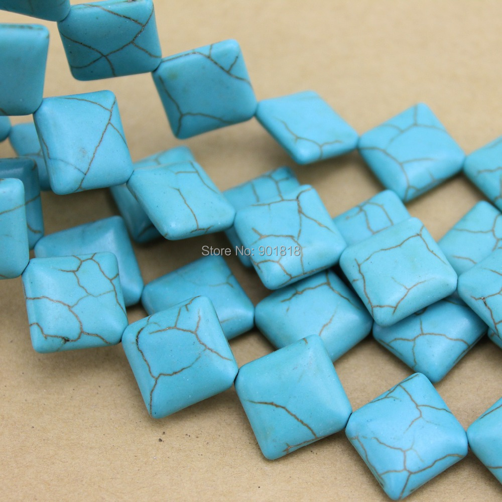 22pcs/pack 1.4cm*1.4cm Blue Square Created Stone Jewelry Making ...