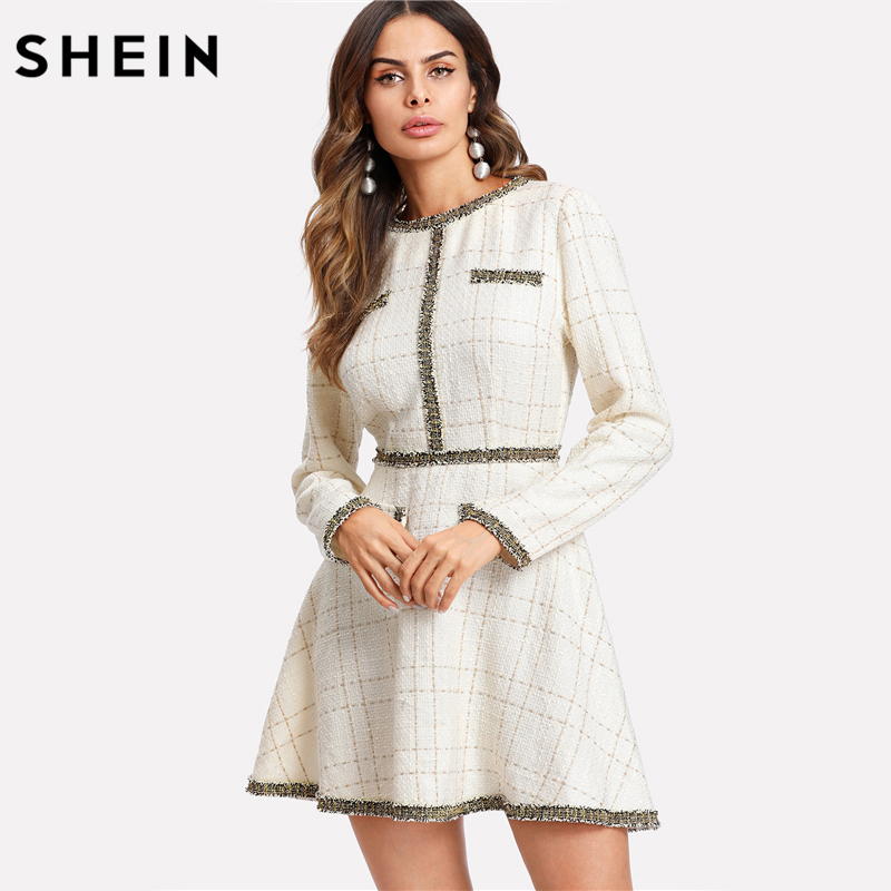 0a03975a7c Aliexpress.com : Buy SHEIN Fit and Flare Elegant Women Dress Fringe and Pearl  Embellished Tweed Dress Multicolor Long Sleeve Plaid A Line Dress from ...