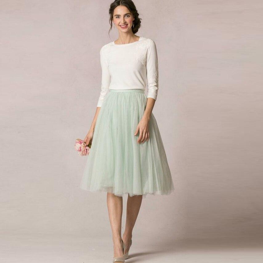 716821fd3 Primavera Verano fresco 2016 menta verde suave tul faldas para dama de  honor a la boda modesta falda ...