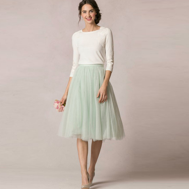 984140010b6 Spring Summer Fresh 2016 Mint Green Soft Tulle Skirts For Bridesmaid To  Wedding Modest Tutu Skirt For Women Knee Length
