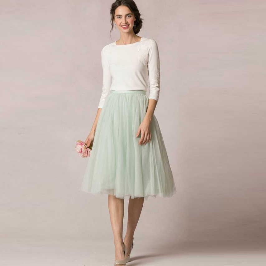 4d87247440 Spring Summer Fresh 2016 Mint Green Soft Tulle Skirts For Bridesmaid To  Wedding Modest Tutu Skirt