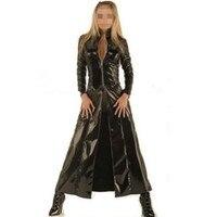 2016 mới walson instyles Đen faux leather pvc dài gothic Áo Khoác ưa thích ăn mặc cho nam giới và phụ nữ cộng với kích thước