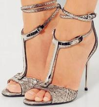 Sexy Snakeskin Print Leather Women Sandals Gold Metal Decoration T-bar Ankle Strap Gladiator Summer Banquet Shoes