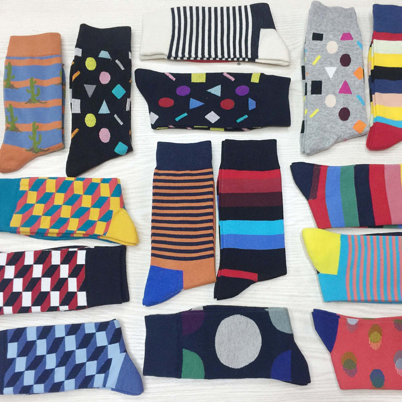 New cotton version of the large size of men in the tube tide   socks   Interesting striped fashion wild men's business cotton   socks