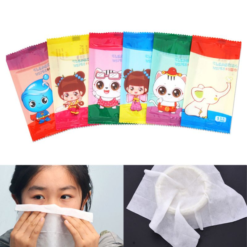10Pcs/Set Disposable Non-Woven Fabric Wet Wipes Restaurant Internet Bar Dining Tissue Towel Cute Cartoon Logo Individually Wrap