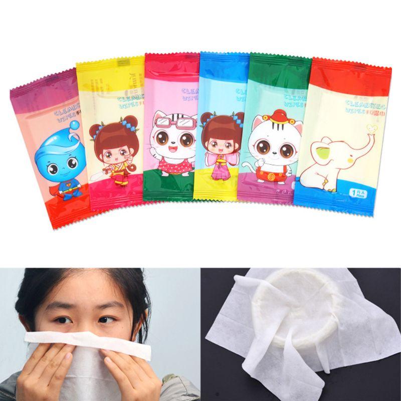 10Pcs/Set Disposable Non-Woven Fabric Wet Wipes Restaurant Internet Bar Dining Tissue Towel Cute Cartoon Logo Individually Wrap