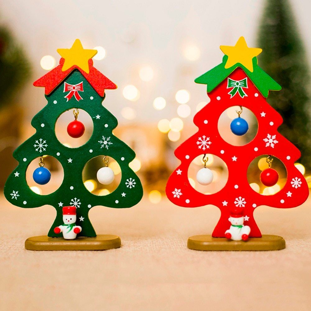 Small Christmas Tree Ornament Mini Painted Wooden Card New ...