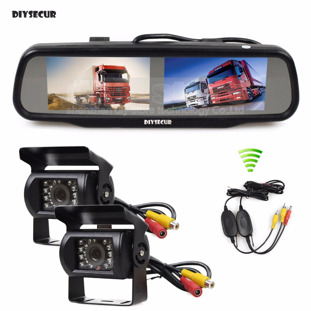 цена на DIYSECUR Dual 4.3 inch Screen Rearview Car Mirror Monitor + 2 x CCD Waterproof Car Rear View Reverse Backup Car Truck Bus Camera