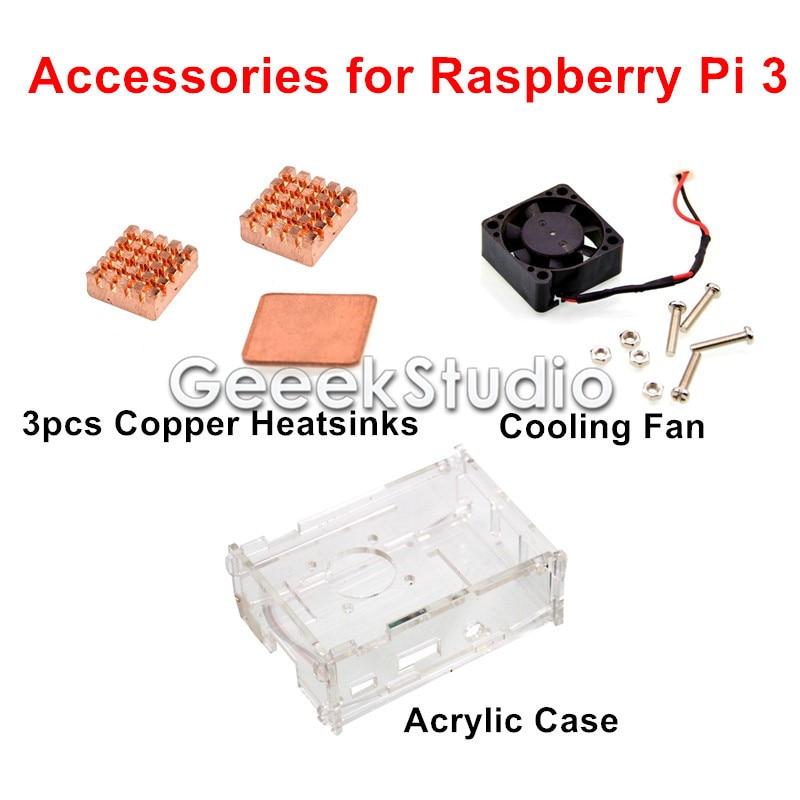 Cooling Kit with Cooling Fan + Copper Heatsinks + Acrylic Case for Raspberry Pi 3 Model B