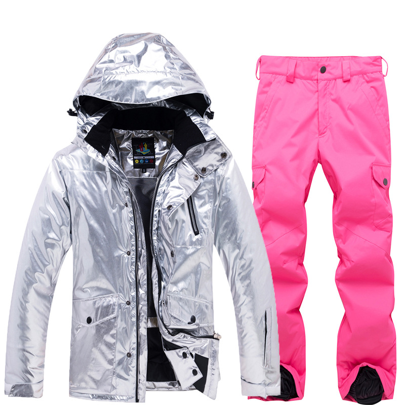 Bright Leather Women's Ski Suit Set Winter Clothing Waterproof Windproof Mountain Costume Snowwear Jacket And Pant Dropshipping