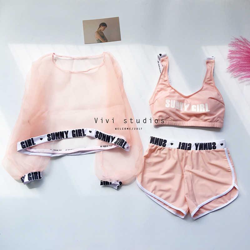 Style Sport doux Bikini maillot de bain taille haute pour les femmes ensemble maillot de bain rose noir blouse Vintage Biquini maillots de bain été tankini