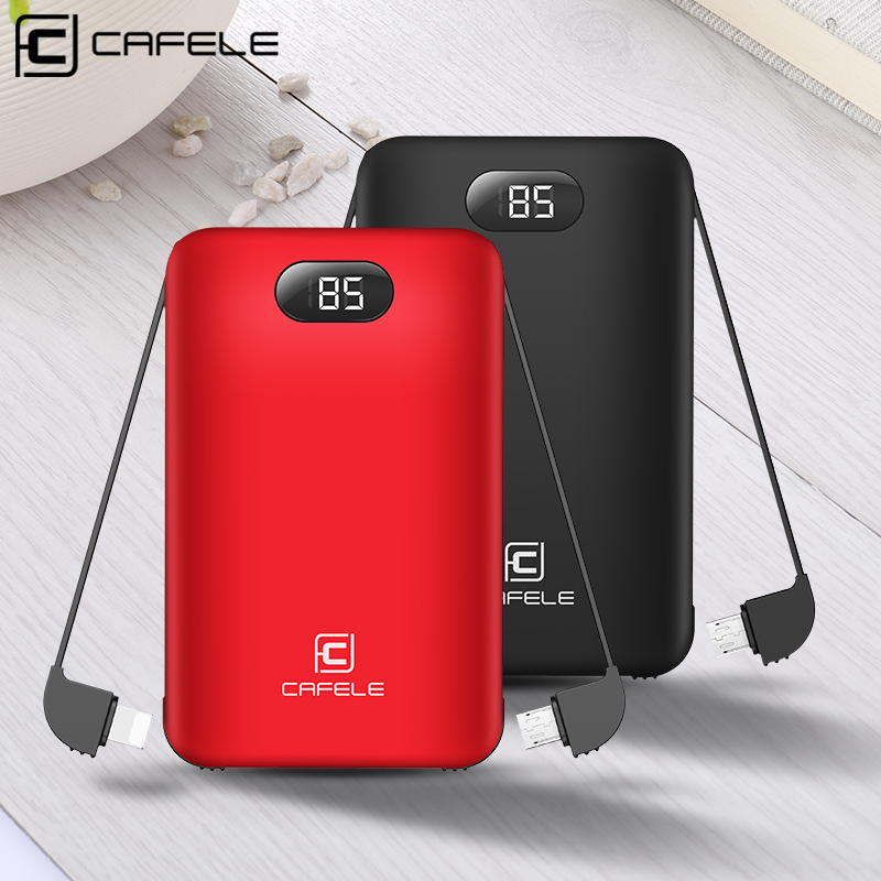 CAFELE 8000mAh Mini Built-in Power Bank LCD Display Micro USB Type C Input with Charging Cable Charger for iPhone Samsung Xiaomi