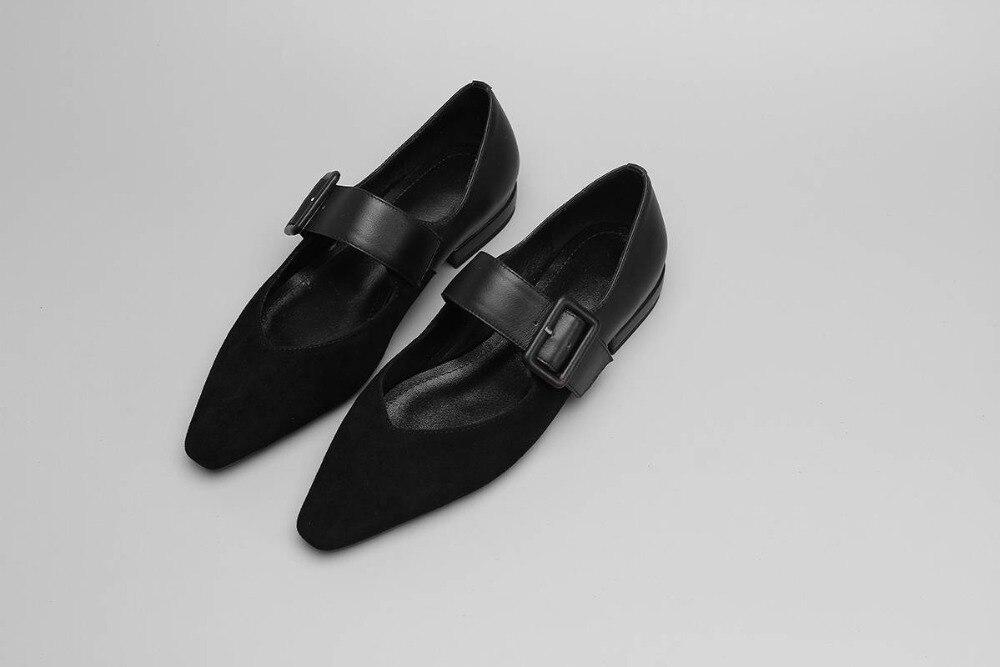 Mujeres Dedo Clásico Gran Vintage apricot Genuino Zapatos Diarios Negro Hebilla Pie Planos Del L96 Lenkisen Chicas De Las Tamaño Cuero Correa Cuadrado Cómodo P8Xwg