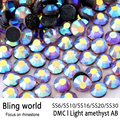 SS16 SS20 SS30 Heat Transfer Flatback Light Amethyst AB DMC Hot Fix Rhinestones for Phonecase Decoration Wedding Dressed diy