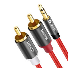 RCA Audio Cable 2RCA Male to 3.5mm Jack to 2 RCA AUX Cable Nylon Braided Splitter Cable For Edifer Home Theater DVD rca to 3.5mm(China)