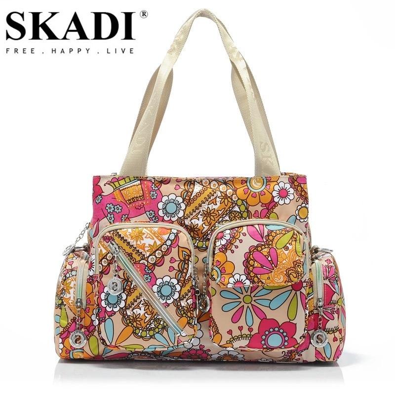 SKADI Mermaid High Capacity Flower Waterproof Women Handbags Hot Sale Shoulder Bags Nylon Famous Brand Women Messenger Bags