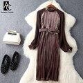 Весна осень взлетно-посадочной полосы дизайнер женщины платья темно-зеленый коричневый бархат лоскутное плиссированные dress с поясом мода колен dress