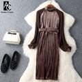 spring autumn runway designer womans dresses dark green brown velvet patchwork pleated dress with belt fashion knee length dress