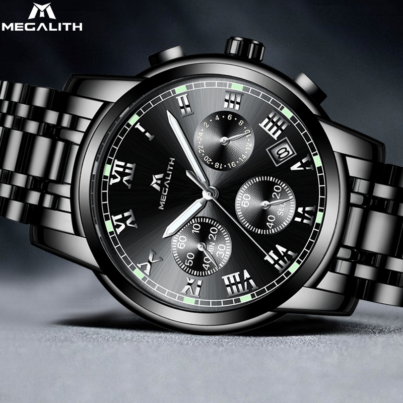 MEGALITH Hot Sale Relojes Para Hombre Wacth Men Stainless Steel Strap Wristwatch Led Light Fashion Business Quartz Watch LuxuryMEGALITH Hot Sale Relojes Para Hombre Wacth Men Stainless Steel Strap Wristwatch Led Light Fashion Business Quartz Watch Luxury