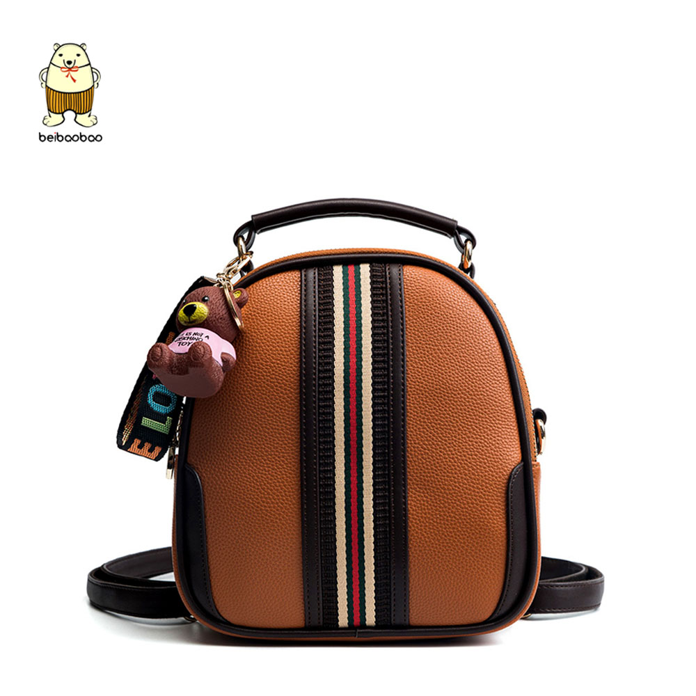 Beibaobao New Brand 2019 Women Pendant Backpacks Small Bags For Girls Pu Leather Fashion Women Bags Daypack With Top Zipper