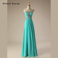 Sexy Turquoise Sweetheart Bridesmaid Dresses 2017 with Rhinestone Formal Women Chiffon Maid of Honor Dress Long Party Prom Gowns