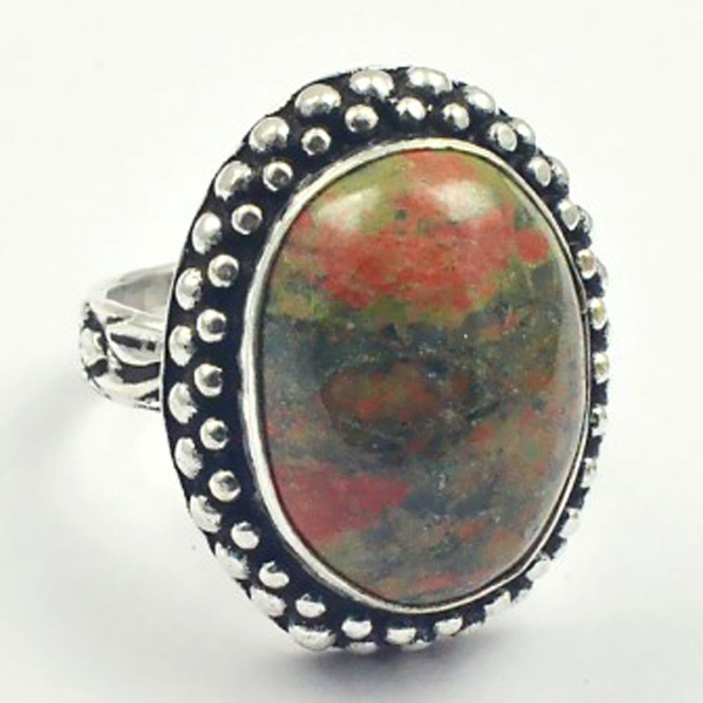 Unakite Ring Silver Overlay over Copper USA Size 7 R3375 in Rings from Jewelry Accessories