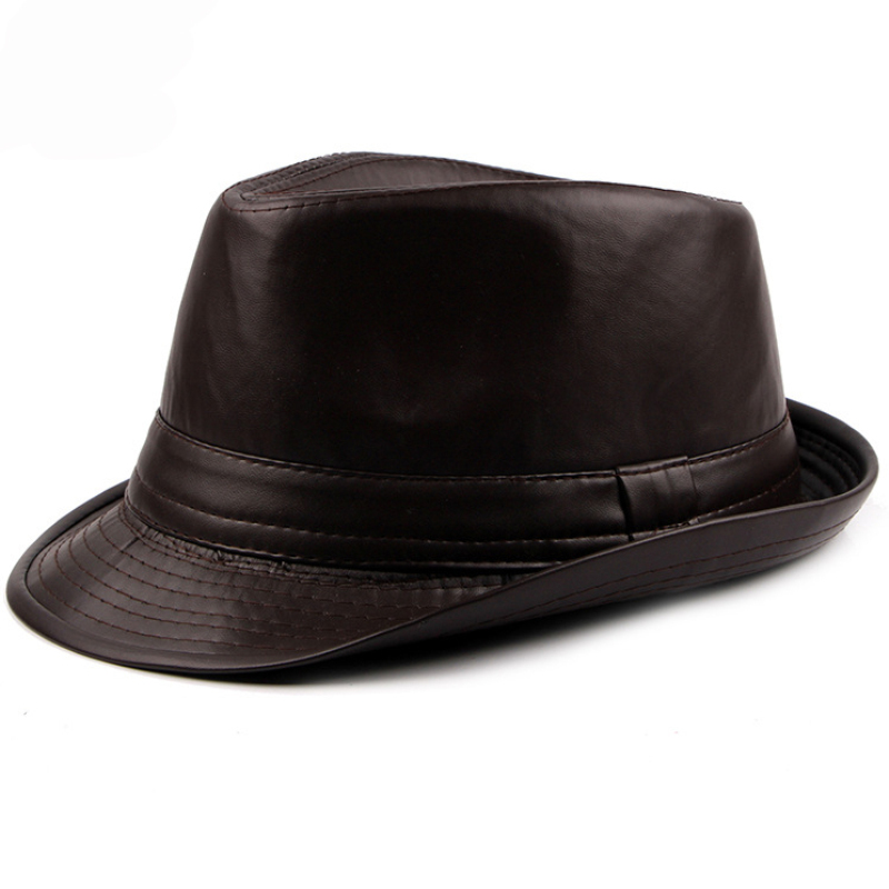 f070b65d15 HT1512 Autumn Spring Men Hats 2018 Fashion Black Brown Leather Trilby Hats  Plain Solid Derby Hats Retro Classic Jazz Fedora Hats