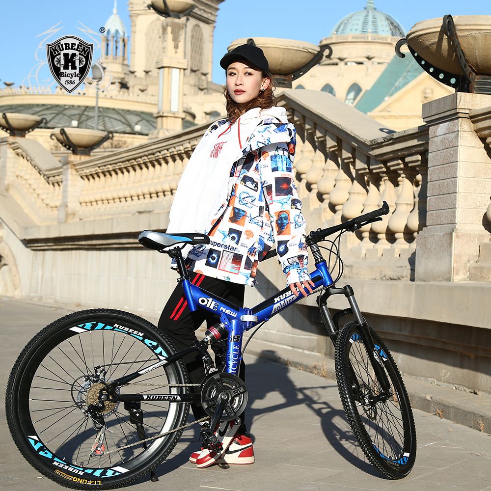 KUBEEN Downhill Mountain Bike Steel 26 Inch 21 Speed Bici Corsa Bikes Mens Bisiklet Folding Bicycle Bicicleta Bisiklet lauxjack mountain bike steel itself 24