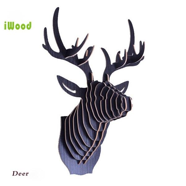 1 sada 9 barev 25 palců 5 mm MDF dřevěná zvířata hlava kreativní jelení hlava stěna závěsná pro umělecké nástěnné dekorace IW-WD001