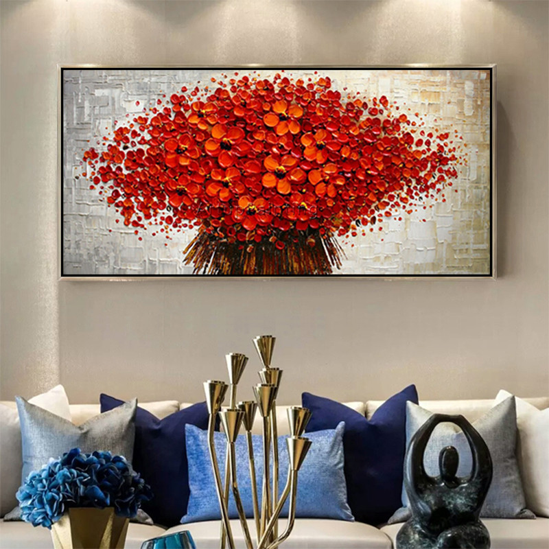 Canvas Painting palette knife 3D texture acrylic Flower painting Wall - Home Decor - Photo 4