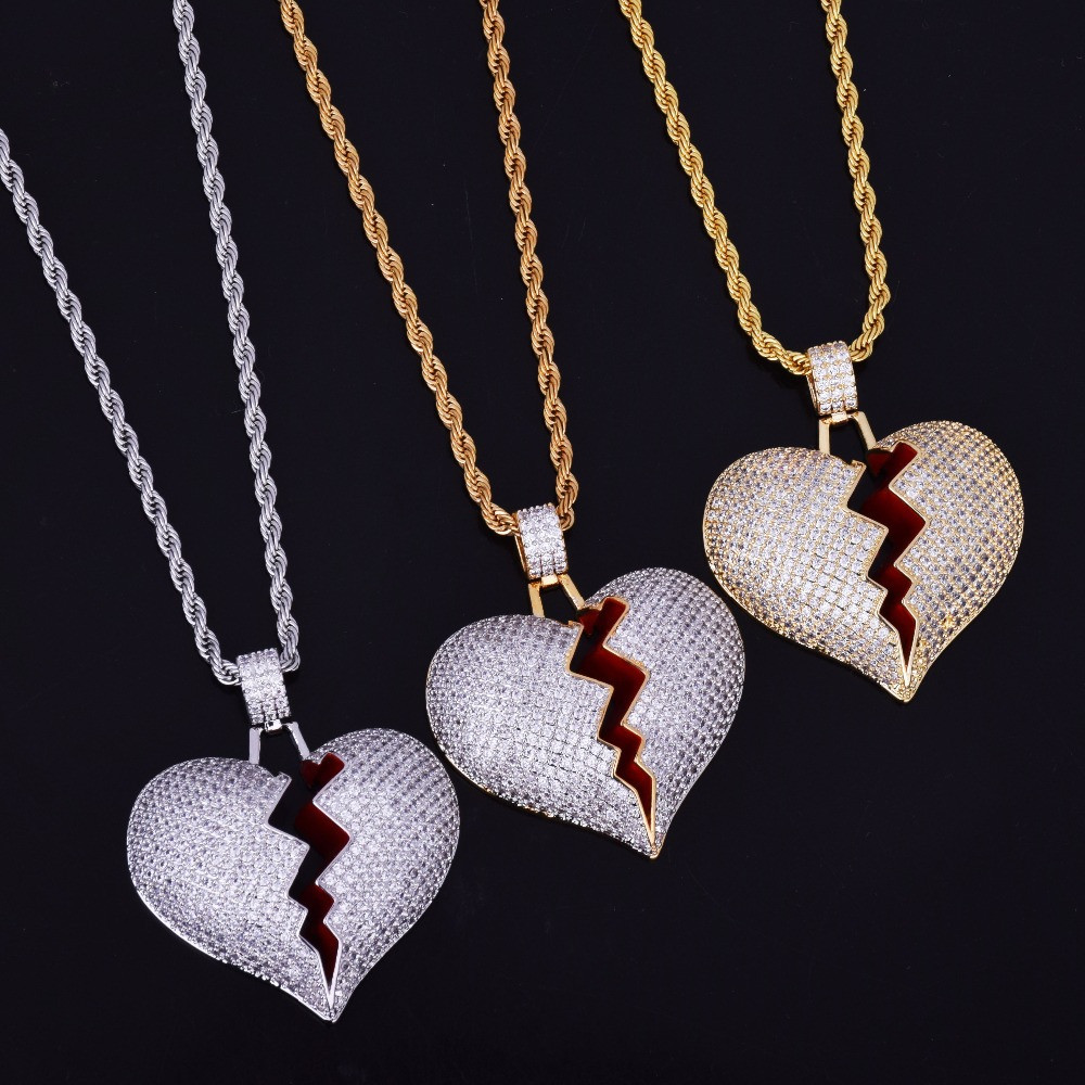 Iced Out Broken Heart Pendant 3mm 24 Stainless Steel Rope Chain Male and Female Couple Pendant Full Zircon Necklace HYZ9076 cruel heart broken