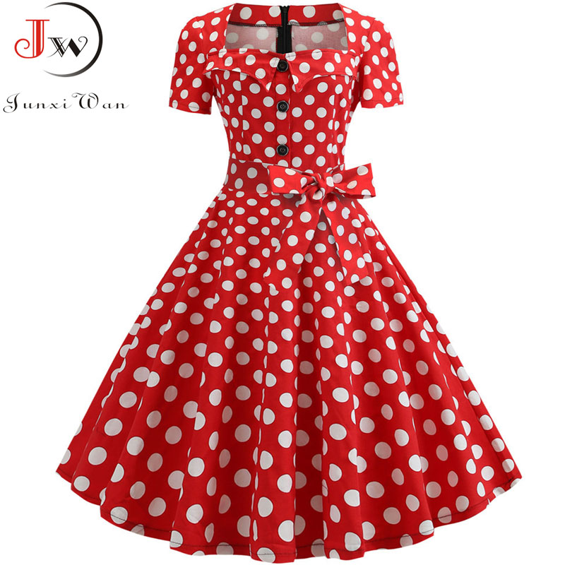 2019 Summer Polka Dot Dress Women Short Sleeve Robe Femme Vintage Dress Elegant Party Office Midi Rockabilly Dresses Plus Size