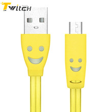 1M V8 Micro USB Charger Cable Smile LED Light Sync Data Cable Charging Cord Adapter For Samsung Xiaomi Sony Android Cell Phone
