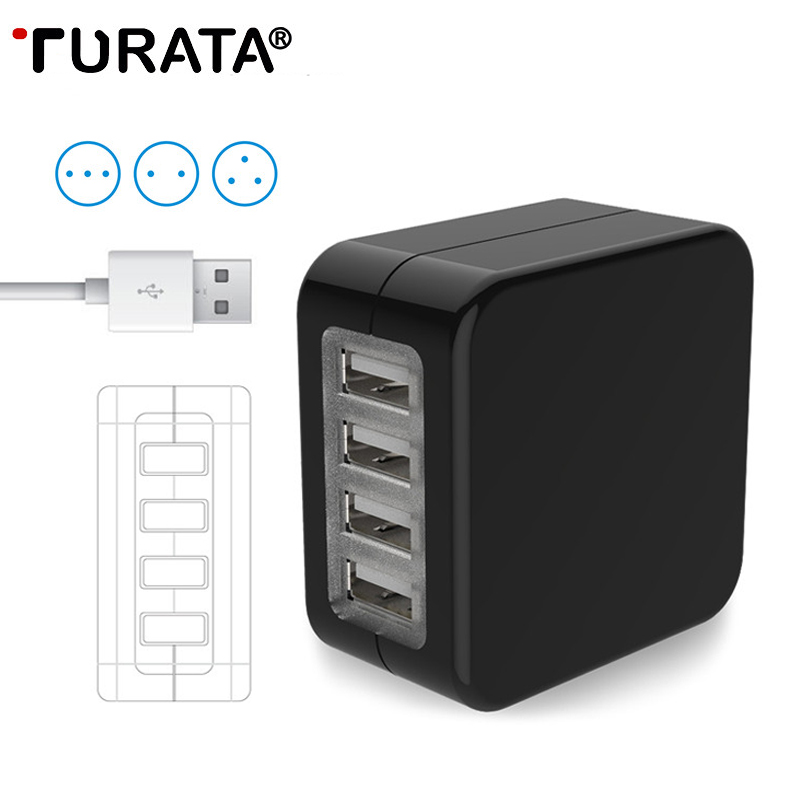 TURATA Travel Adapter US EU UK AU Plugs 4 USB Ports Charger Universal Wall Converter Socket For iPhone 7 8 Plus X Samsung Note 8