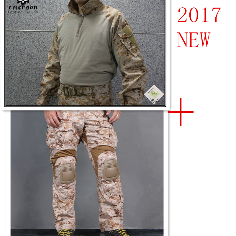 Emerson tactical bdu G3 Combat uniform shirt Pants knee pads Military Army uniform AOR1 airsoft Suits