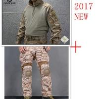 Emerson tactical bdu G3 Combat uniform shirt & Pants & knee pads Military Army uniform AOR1 airsoft Suits EM8575+7026