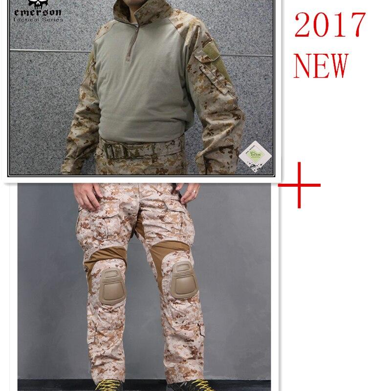 Эмерсон тактические bdu G3 боевой униформы рубашка и штаны и наколенники военные армия равномерное AOR1 страйкбол костюмы EM8575+7026
