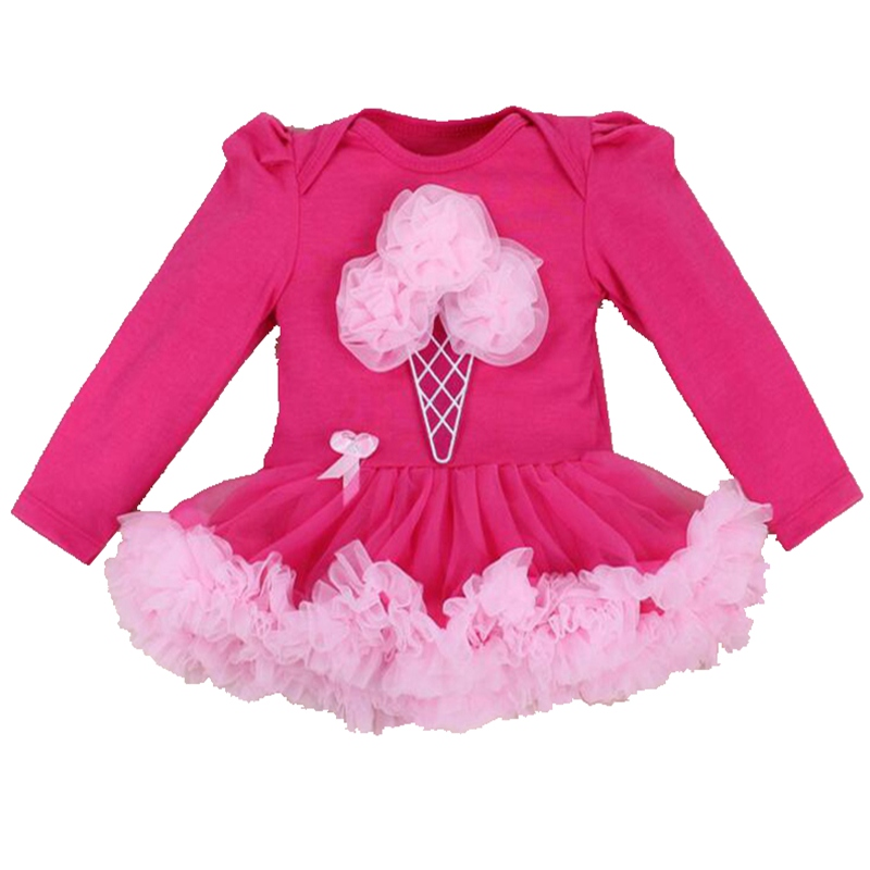Ice Cream Applique Long Sleeve Body Baby Romper Lace Tutu Dress Overalls Macacao Bebe Newborn Baby Girl Clothes Infant Clothing baby girl infant 3pcs clothing sets tutu romper dress jumpersuit one or two yrs old bebe party birthday suit costumes vestidos