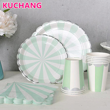 40pcs/set Happy Birthday baby shower Wedding party Supplies Pink Mint Blue Stripe Decorations Plates Cup Napkins Paper tableware