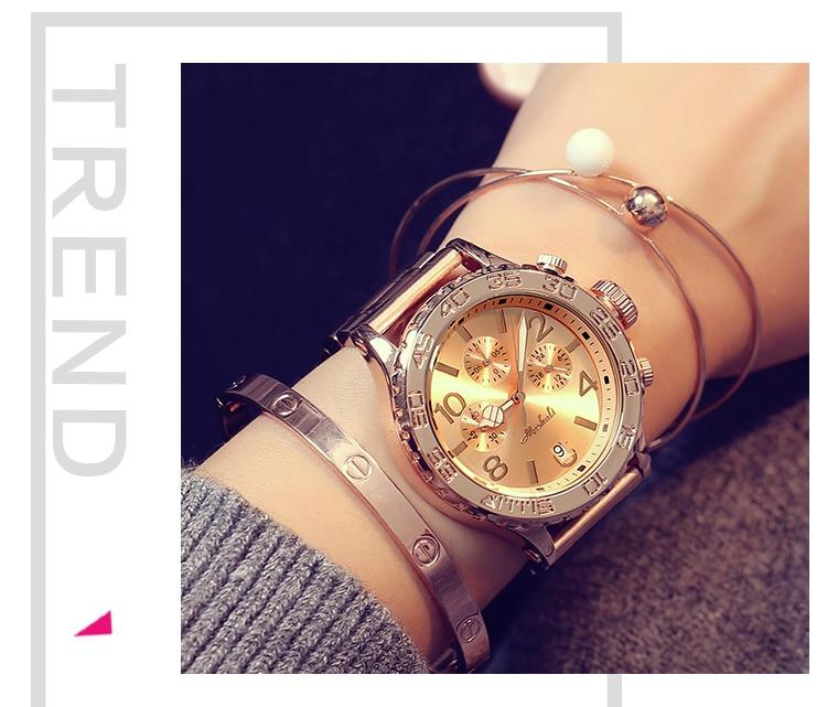 casuais novo vestido de cristal relógio feminino rosa de ouro