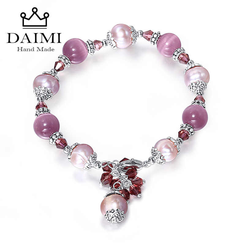 DAIMI Purple Natural Pearl Bracelets Trendy  Adjustable Style Agate Bracelet Colorful Stone Jewelry 5 Color For Choose Big Size