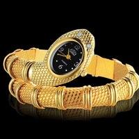 אופנה ייחודית חמה למכירה מפרק שעונים נשים גבירותיי צמיד שעונים בצורת נחש יוקרה יהלומים של נשים כסף זהב שעון