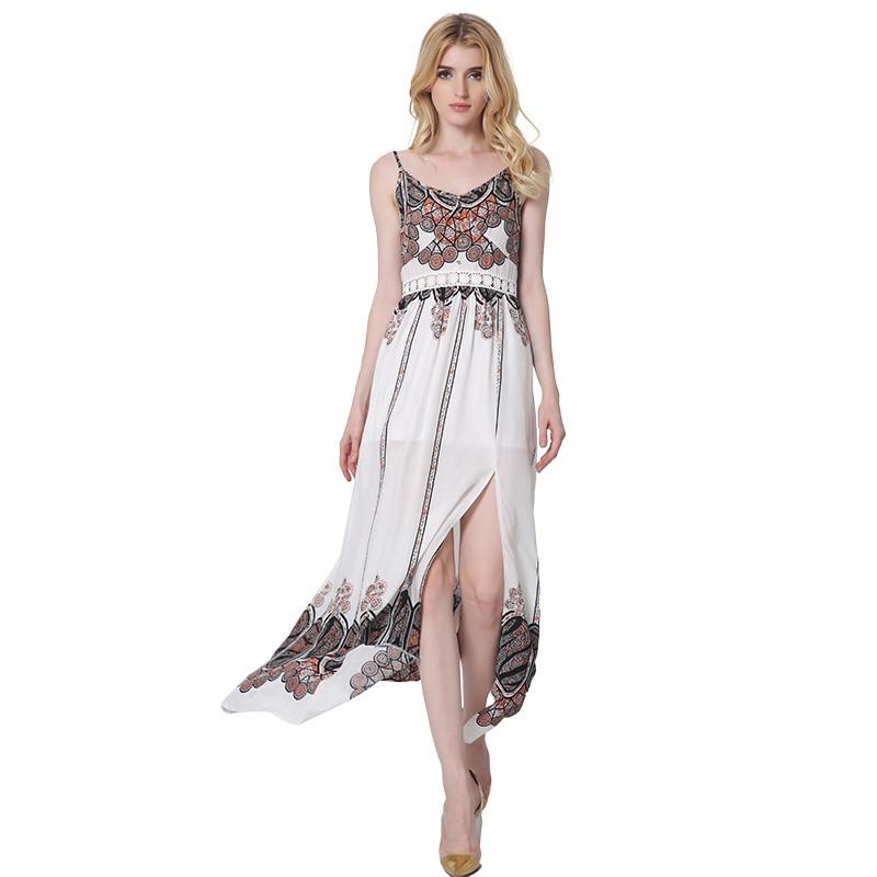 2017 Sexy Drucken Sleeveless Langes Kleid Seite Split Backless Shift ...