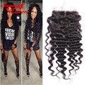 Human Hair Lace Closure 5x5 Malaysian Lace Closure 8A Malaysian Deep Curly Virgin Hair Bleached Knots Closure Rosa Hair Products